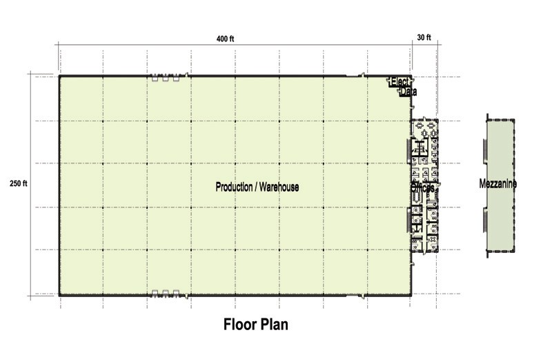 Office floor plan for 109 000 sf building sites profiles for Area of a floor plan