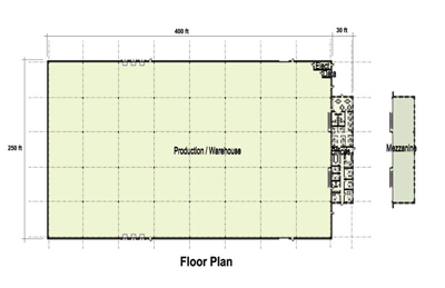 109,000 SF Production Area Floor Plan