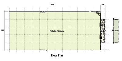 159,000 SF Production Area Floor Plan