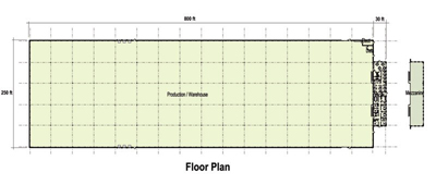 209,000 SF Production Area Floor Plan