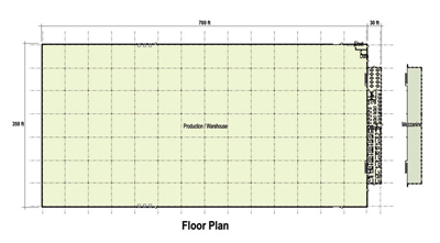260,000 SF Production Area Floor Plan