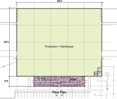 59,000 SF Production Area Floor Plan